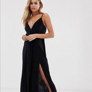 Black plisse spaghetti strap maxi slit dress